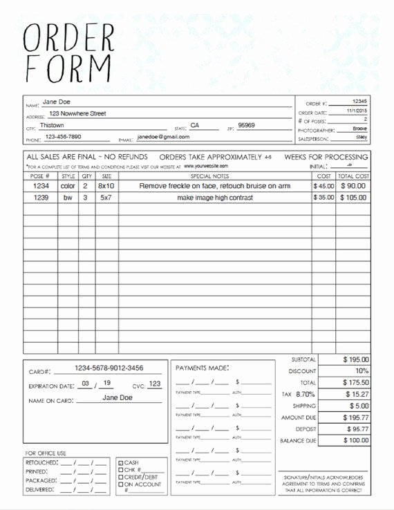 Photography order form Template Best Of Pdf General Graphy Sales order form Template
