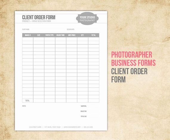 Photography order form Template Elegant Graphy Business forms Client order form for