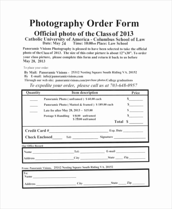 Photography order form Template Elegant Sample Free Printable order form 9 Examples In Word Pdf