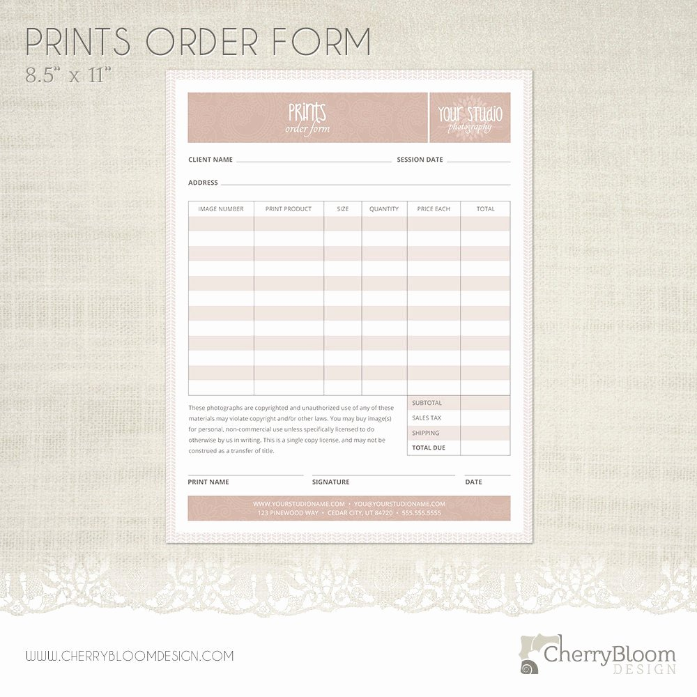 Photography order form Template Free Elegant Prints order form Template for Graphers Grapher