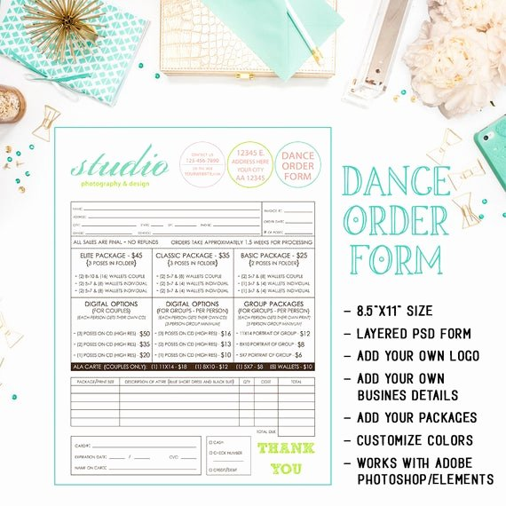 Photography order form Template Free Elegant School Dance Dance Team Graphy order form Template