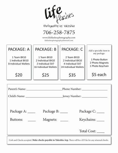 Photography order form Template Free Inspirational Youth Sports Photography order form