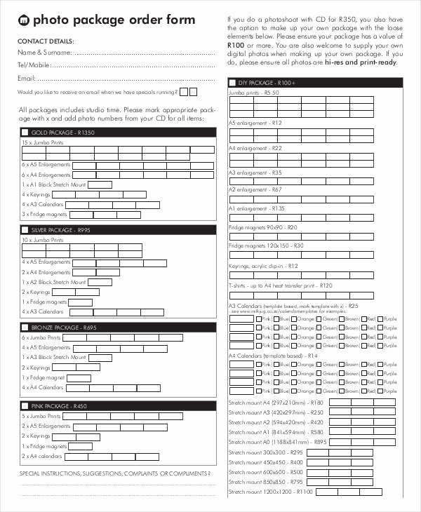 Photography order form Template Free New 12 Package order forms Free Sample Example format
