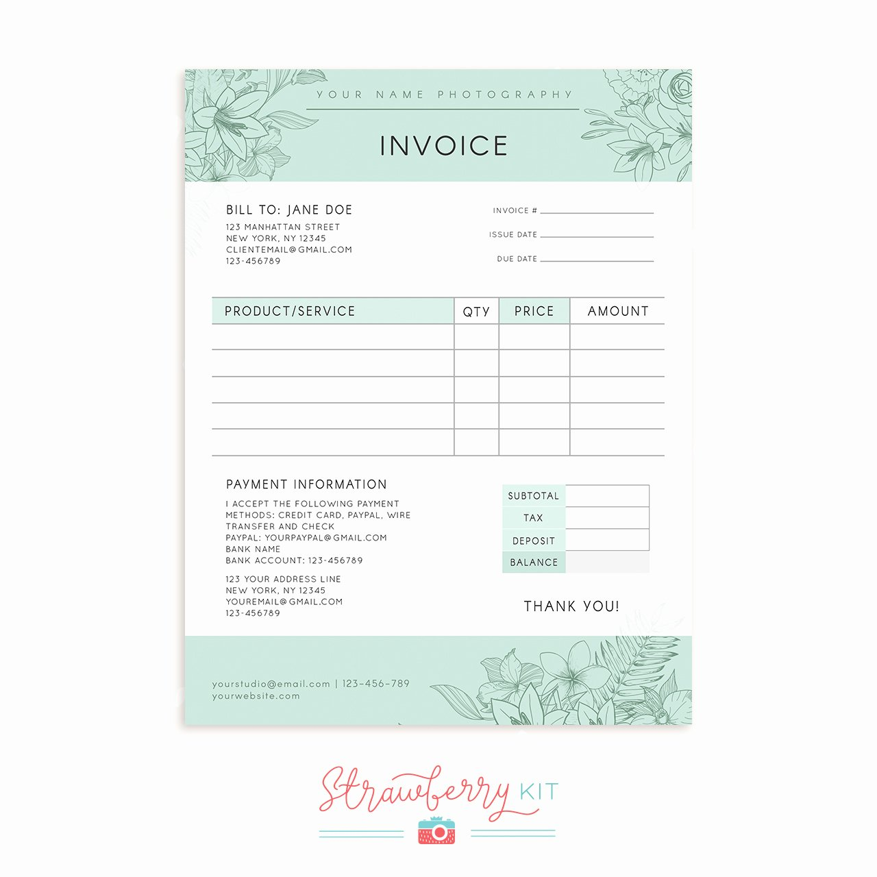 Photography order form Template Free New Floral Graphy Invoice Template Strawberry Kit