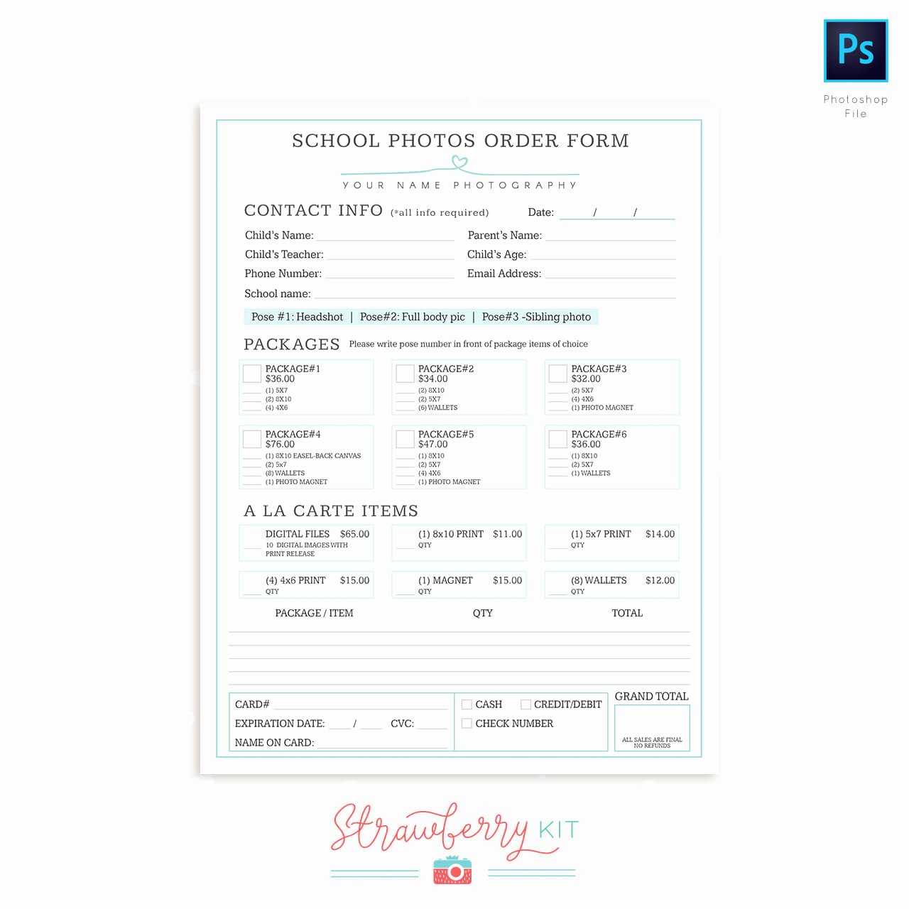 Photography order form Template Free New School Photography order form Template Strawberry Kit
