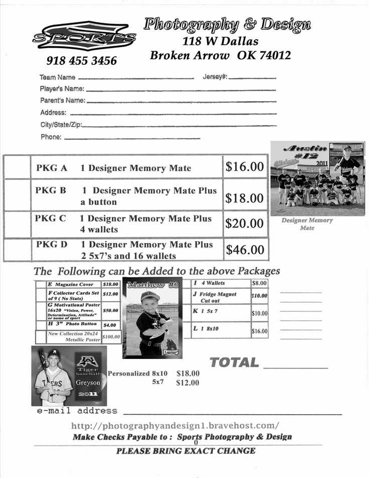 Photography order form Template Fresh Youth Sports Photography order form