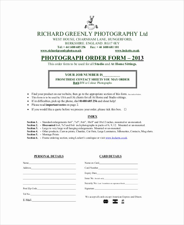 Photography order form Template Inspirational Sample Graphy order form 10 Examples In Word Pdf