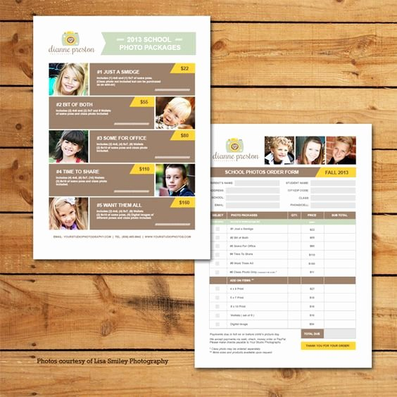 Photography order form Template Unique order form School Photos and Templates On Pinterest