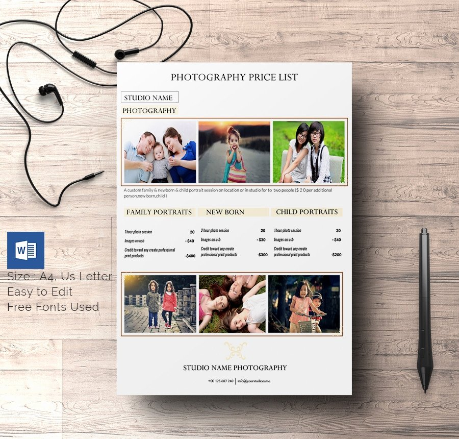 Photography Price List Template Word Awesome 25 Price List Templates Doc Pdf Excel Psd