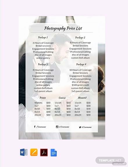 Photography Price List Template Word Beautiful Free Graphy Price List Template Pdf Word
