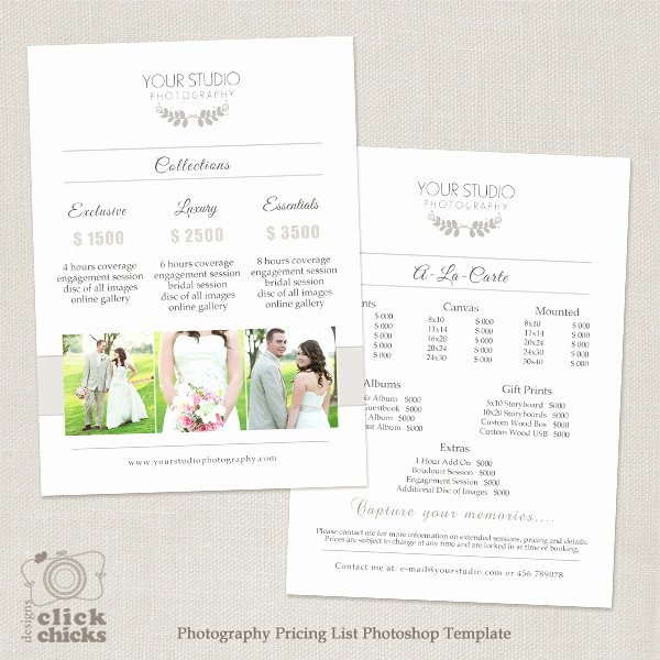 Photography Price List Template Word Beautiful Wedding Graphy Pricing List Template 31
