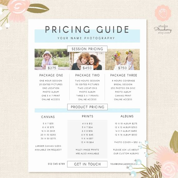 Photography Price List Template Word Fresh Graphy Pricing Template Pricing Guide by