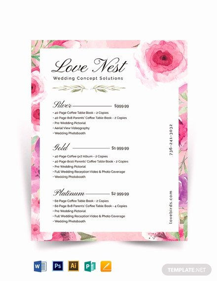 Photography Price List Template Word Fresh Graphy Wedding Packages Price List Template Download