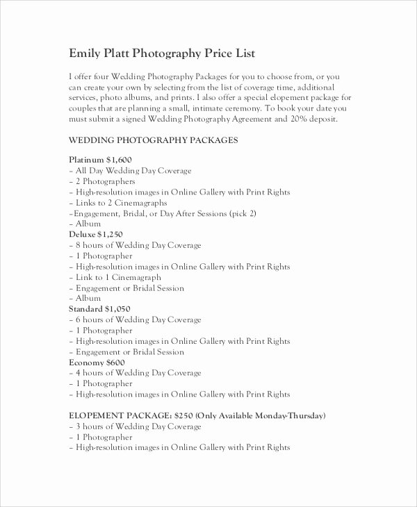 Photography Price List Template Word Inspirational Sample Price List 7 Documents In Pdf Word