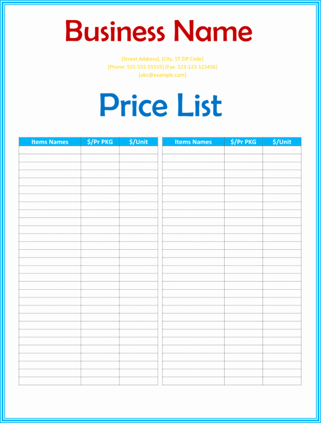 Photography Price List Template Word Luxury Price List Template