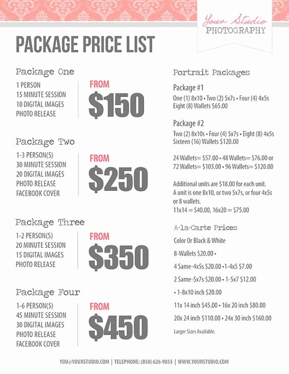 Photography Price List Template Word New Graphy Price List Pricing List for Graphers