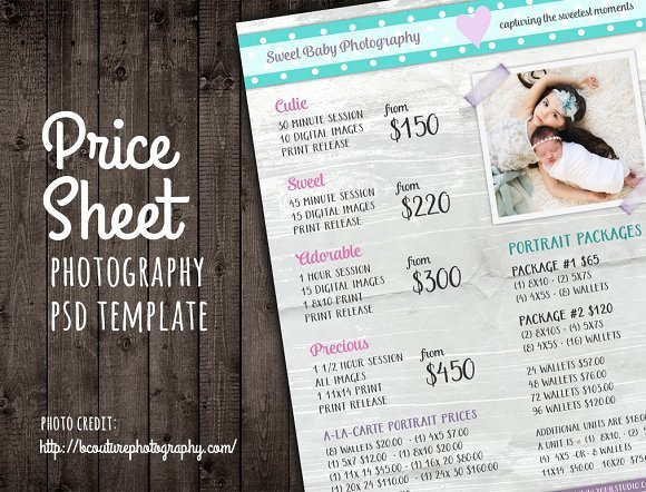Photography Price List Template Word Unique Price Sheet List Psd Template Templates On Creative Market