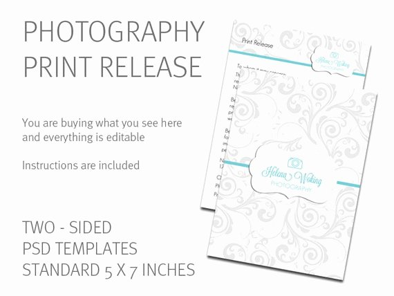 Photography Print Release form Template Beautiful Print Release Template Photography Print Release Card