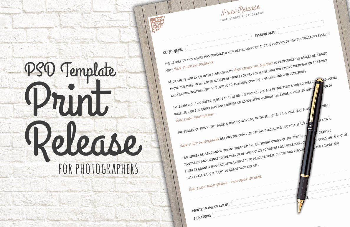 Photography Print Release form Template Best Of Print Release form Template Templates On Creative