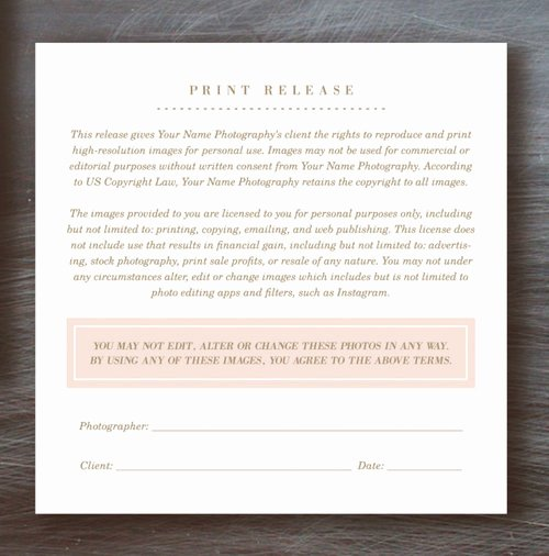 Photography Print Release form Template Fresh Fresh Print order form Template for Graphers Cj97