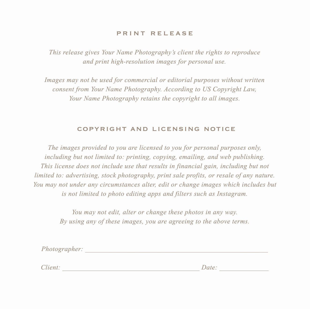 Photography Print Release form Template Lovely Grapher Print Release form Flyer Templates On