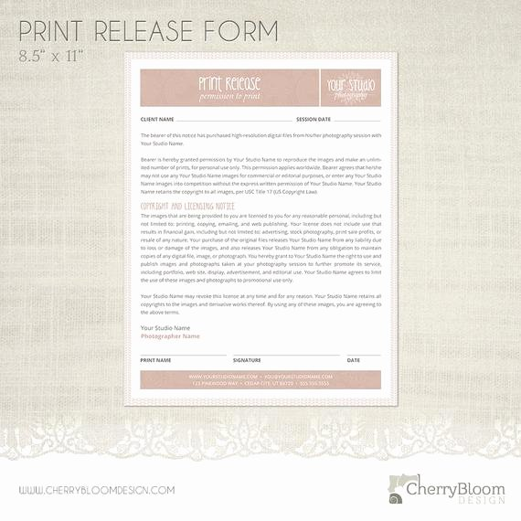 Photography Print Release form Template Lovely Print Release form Template for Graphers Grapher