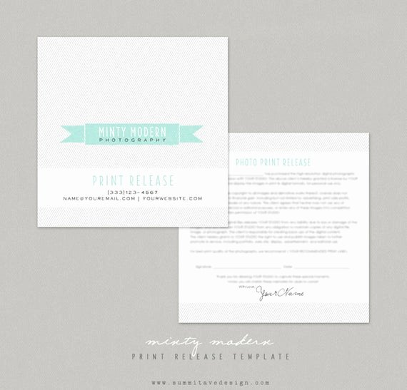 Photography Print Release form Template Lovely Print Release Graphy Template Modern Minty by Summit