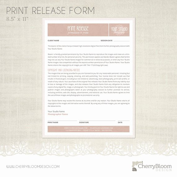 Photography Print Release form Template Luxury Print Release form Template for Graphers Grapher