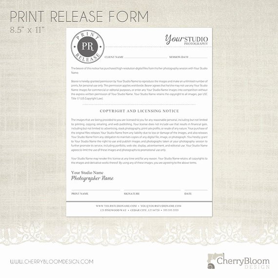 Photography Print Release form Template New Print Release form Template for Graphers Grapher