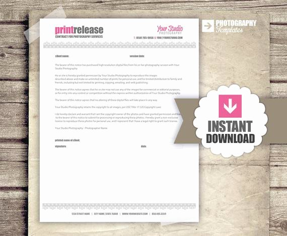 Photography Print Release form Template New Print Release Graphy Business form by Graphtemplates
