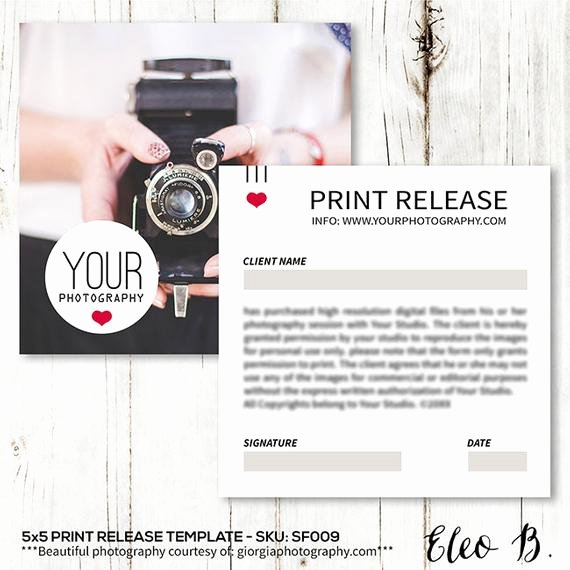 Photography Print Release Template Beautiful 5x5 Print Release form Print Release Card Template