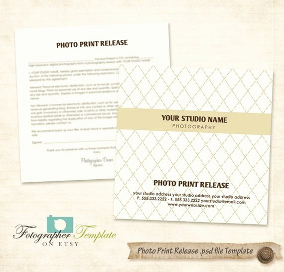 Photography Print Release Template Beautiful Print Release form Template Cd Dvd by