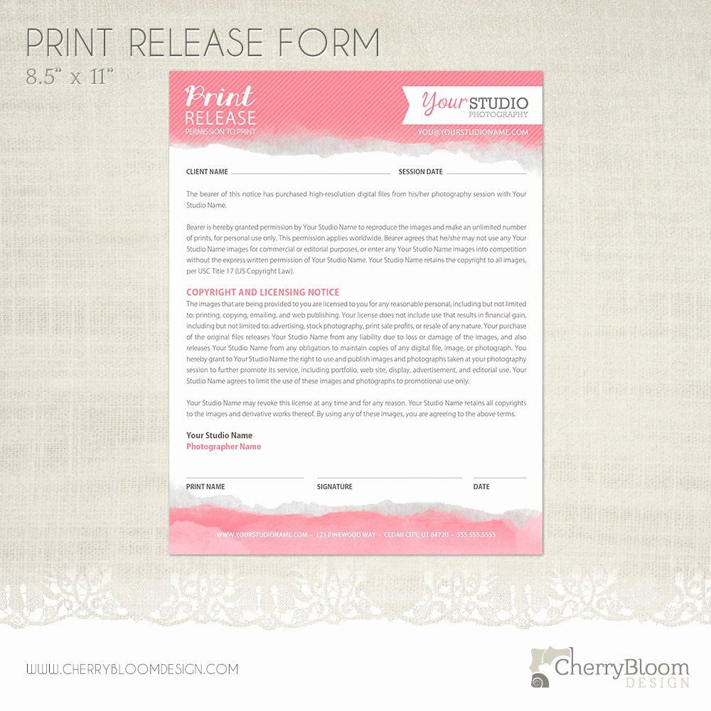 Photography Print Release Template Beautiful Print Release form Template for Graphers Grapher