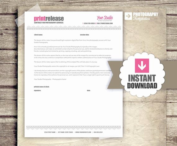 Photography Print Release Template Elegant Print Release Graphy Business form by Graphtemplates