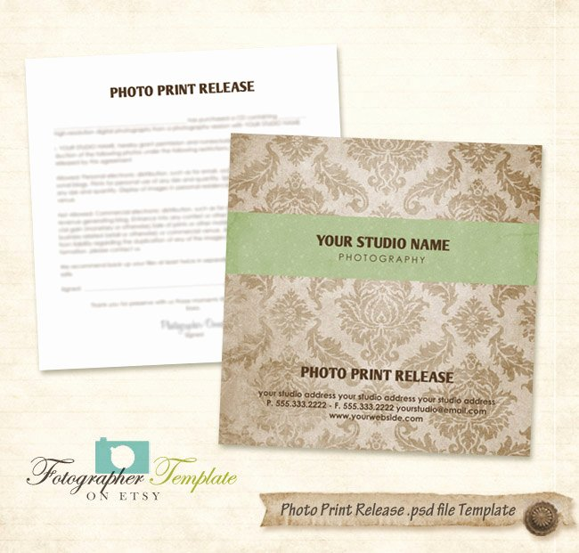 Photography Print Release Template Fresh Print Release form Template Damask Cd Dvd Graphy