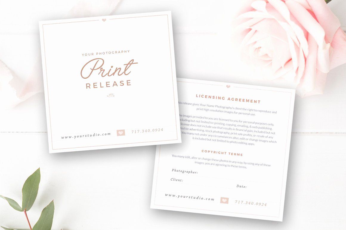 Photography Print Release Template Inspirational Grapher Print Release Template Card Templates