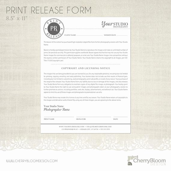 Photography Print Release Template Luxury Print Release form Template for Graphers Grapher