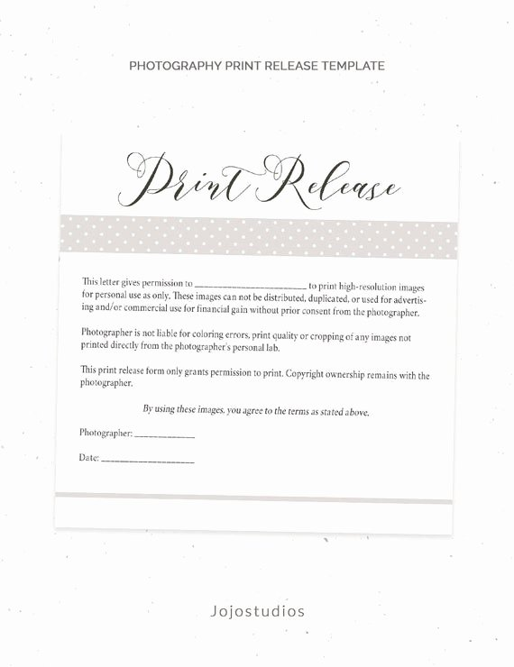 Photography Release form Template Awesome Graphy Print Release form Template Graphy