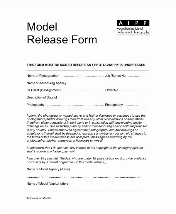 Photography Release form Template Awesome Sample Graphy Model Release form 7 Examples In