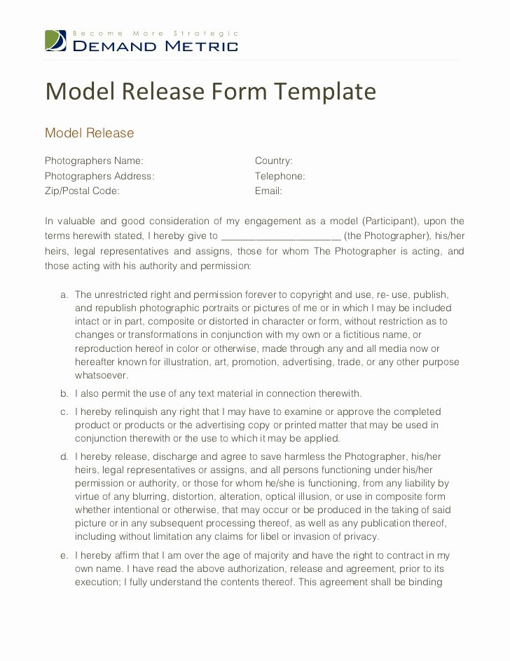 Photography Release form Template Elegant Model Release form Template