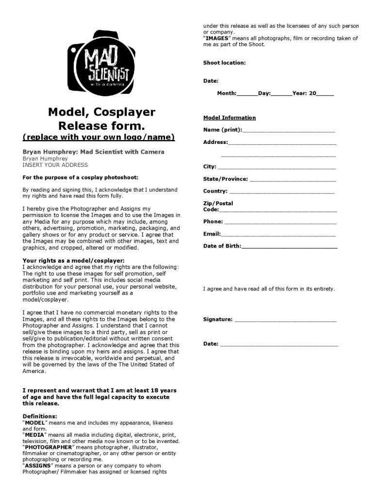 Photography Release form Template Lovely Viral Graphy Graphy Model Disclaimer