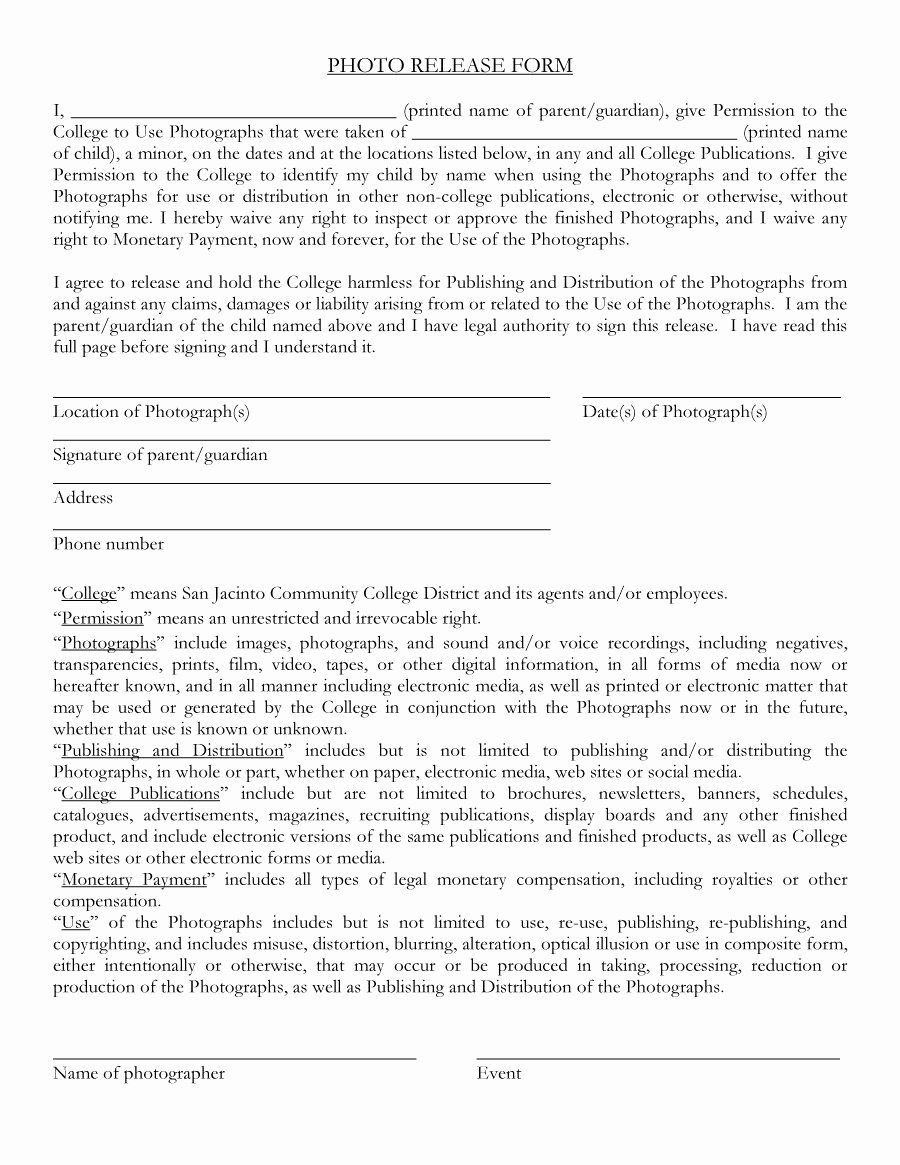 Photography Release form Template Unique 53 Free Release form Templates [word Pdf]