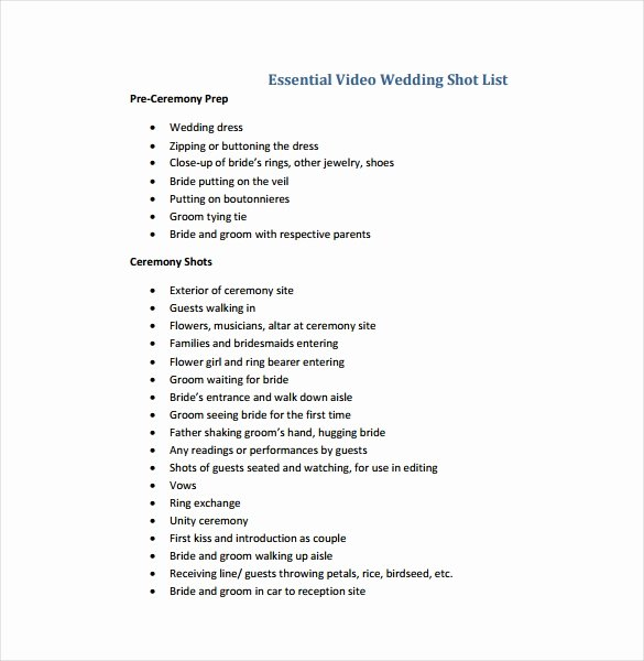 Photography Shot List Template Beautiful 9 Shot List Templates Pdf Word Excel