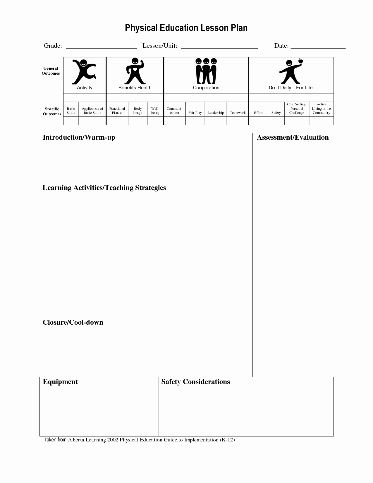 Physical Education Lesson Plan Template Fresh Best S Of Physical Education Unit Plan Template Pe