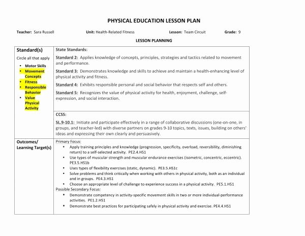 Physical Education Lesson Plan Template Lovely 10 Physical Education Lesson Plan Samples Pdf Word