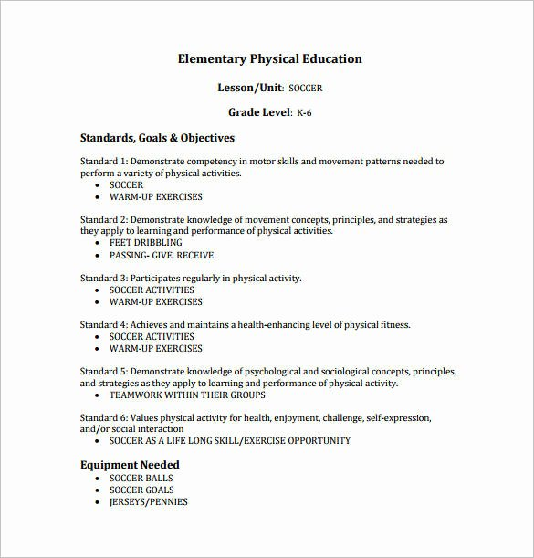 Physical Education Lesson Plan Templates Inspirational Free 10 Physical Education Lesson Plan Samples In Pdf