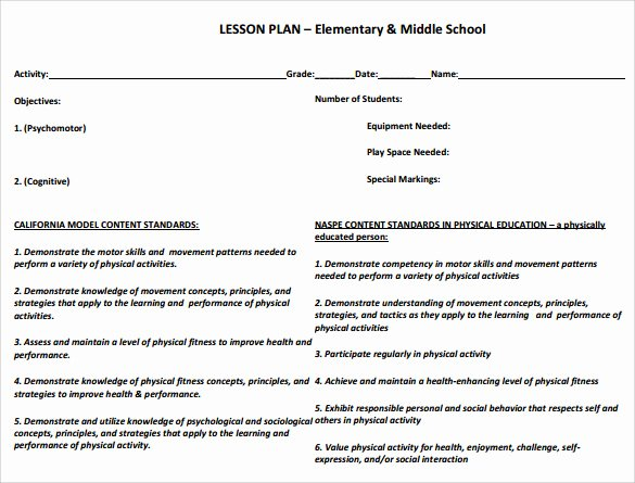 Physical Education Lesson Plans Template Awesome Sample Physical Education Lesson Plan 14 Examples In