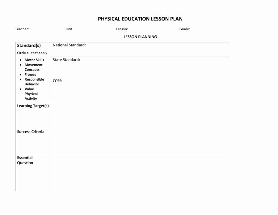 Physical Education Lesson Plans Template Lovely 44 Free Lesson Plan Templates [ Mon Core Preschool Weekly]