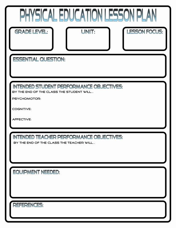 Physical Education Lesson Plans Template Lovely Lesson Plans Phys Ed Review