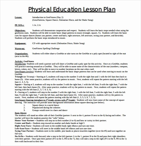 Physical Education Lesson Plans Template Luxury 8 Physical Education Lesson Plan Templates for Free